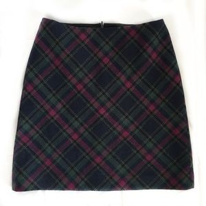 Talbots Wool Blue and Magenta Tartan Skirt Size 6